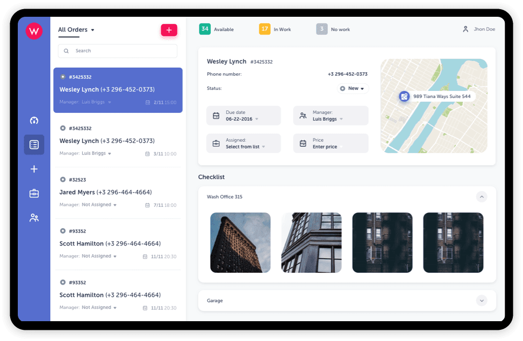 Desktop interface with navigation, map, images, orders and status