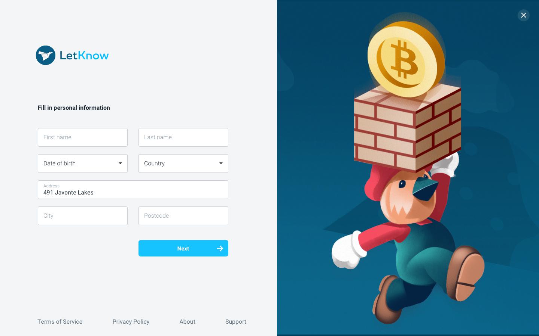menu – Fill in personal information