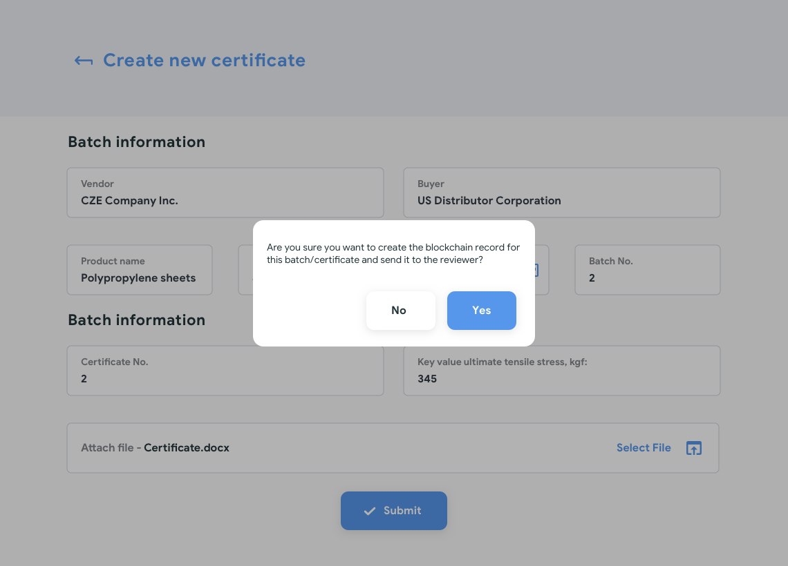create new – confirm